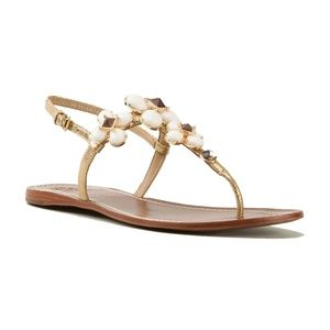 Tory Burch Jewel Embellished Leather Flat Sandals